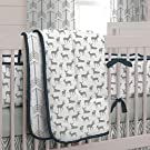Carousel Designs Navy and Gray Deer 3-Piece Crib Bedding Set