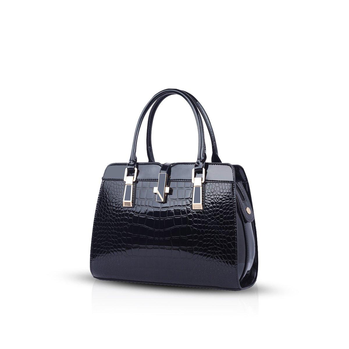 NICOLE&DORIS landies handbags new fashion patent leather shell portable shoulder Messenger bag for women(Black)