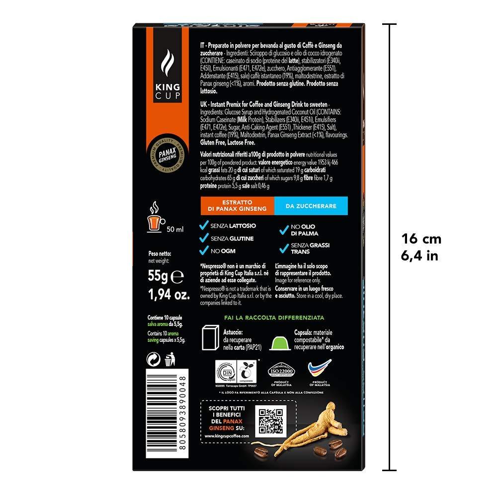 King Cup - Café al Ginseng sin azúcar - 5 paquetes de 10 Cápsulas Biodegradables compatibles con Nespresso®* (50 cápsulas): Amazon.es: Alimentación y ...