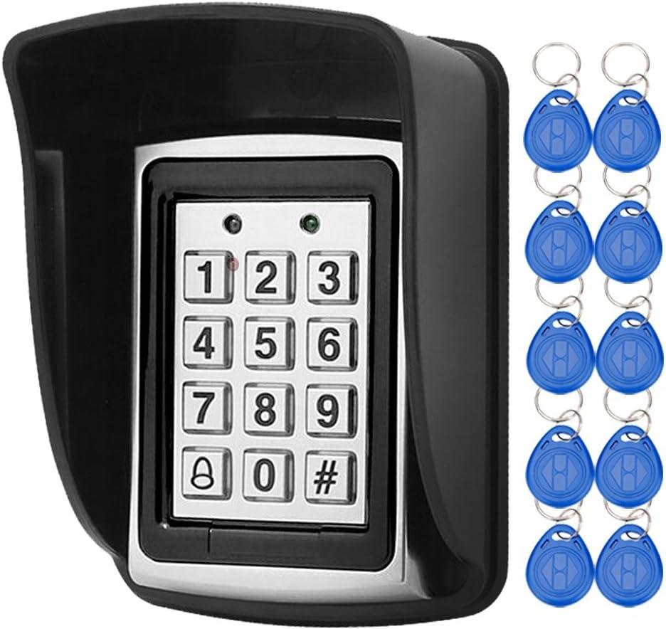 LIBO Controlador RFID de Control de Acceso Impermeable, Apto Para Sistema de Entrada de Una Sola Puerta, Compatible con 1000 Usuarios, Incluye 10 llaves RFID de 125 KHz con Cubierta Impermeable