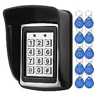 LIBO Contrôleur imperméable de proximité de clavier numérique de contrôle d'accès pour le système d'entrée de porte simple, 1000 utilisateurs, 10pcs 125KHz RFID Keyfobs avec la couverture imperméable