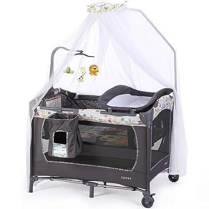 DELLT@ Mesa cambiador para bebés, Cuna portátil gris, Cuna plegable ...