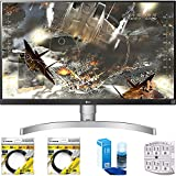 Beach Camera LG 27' Class 4K UHD IPS LED Monitor with HDR 10 2018 Model (27UK650-W) with 2 x 6ft High Speed HDMI Cable Black, Universal Screen Cleaner & SurgePro 6 NT 750 Joule 6-Outlet Surge Adapter