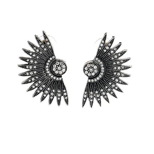 ba667d955 Amazon.com: Black Art Deco Fan Feather Chunky Stud Earrings: Jewelry