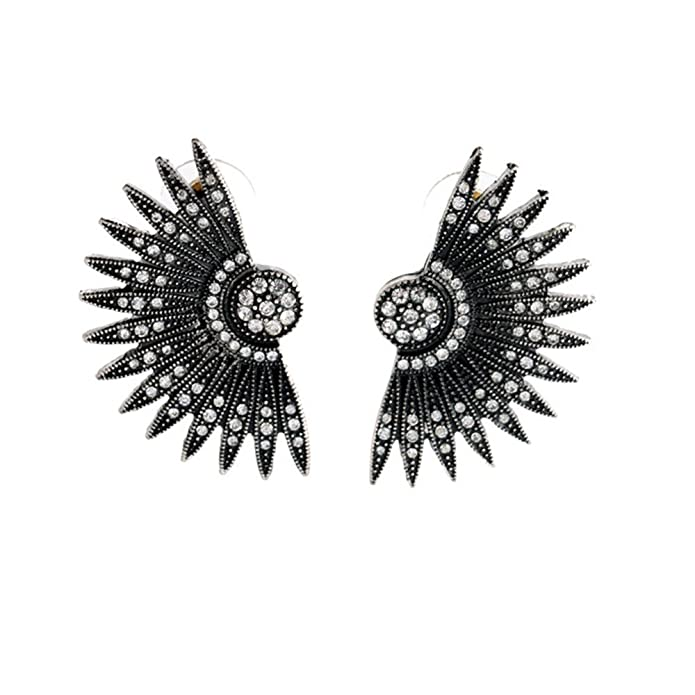 Vintage Style Jewelry, Retro Jewelry Black Art Deco Fan Feather Chunky Stud Earrings $16.99 AT vintagedancer.com