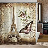 uphome 72 x 72 inch retro vintage paris eiffel tower waterproof kids bathroom shower curtain butterfly and flower pale brown polyester fabric bathroom