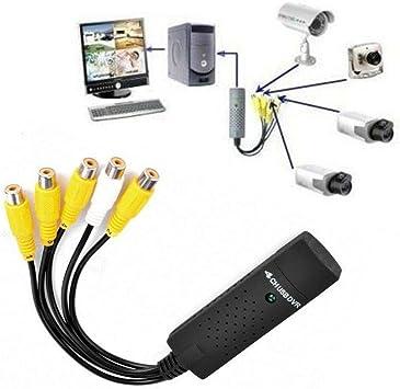 DOBO Easycap Tarjeta de adquisición Canal 4 Video 1 Audio Cámaras TV RCA Adapter Tarjeta Audio Adaptador Compatible con Windows XP Vista Windows 7: Amazon.es: Electrónica