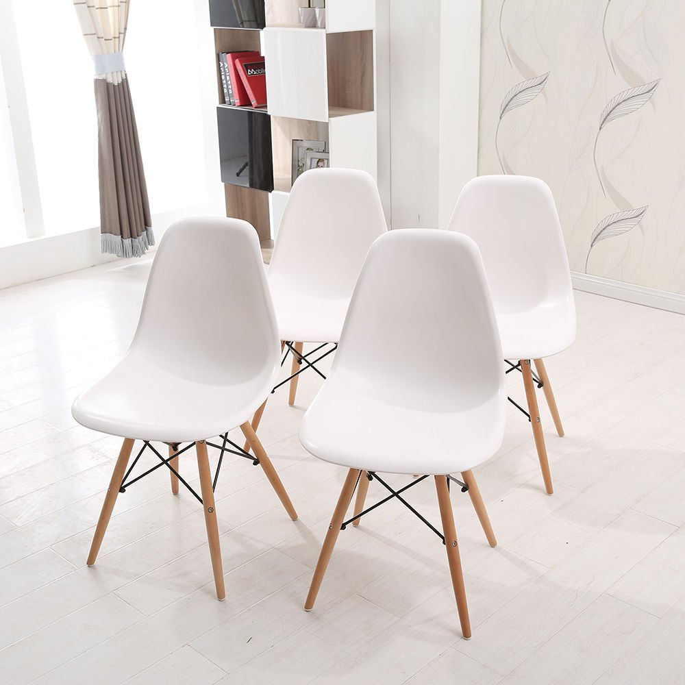 KOSY KOALA Eames Inspired Eiffel DSW Retro Design Wood Style Chairs and Table Set for Office Lounge Dining Kitchen room furniture (4 eames chairs only)