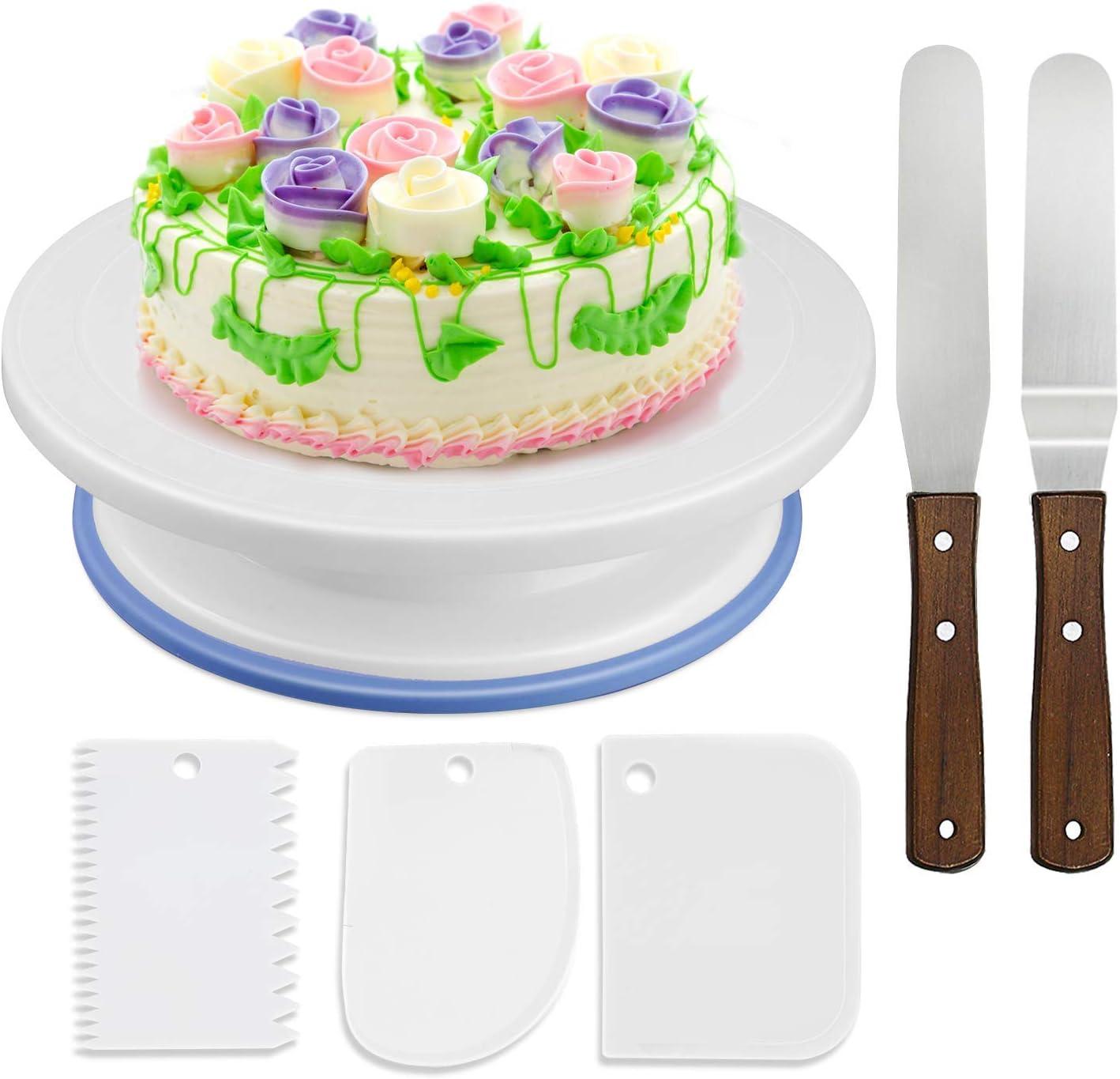 Soporte para tartas giratorio, 6 piezas. Plato giratorio para tartas, decoración, con juego de 2 paletas en ángulo, 3 unidades de Smoother, para hornear, glaseado,27 x 7 cm, blanco: Amazon.es: Hogar