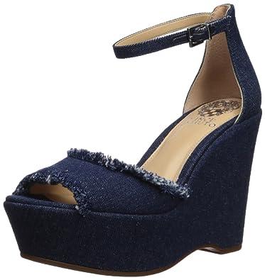 0902c0ecfda5 Vince Camuto Women s Tatchen Wedge Sandal Dark Blue 5 Medium US