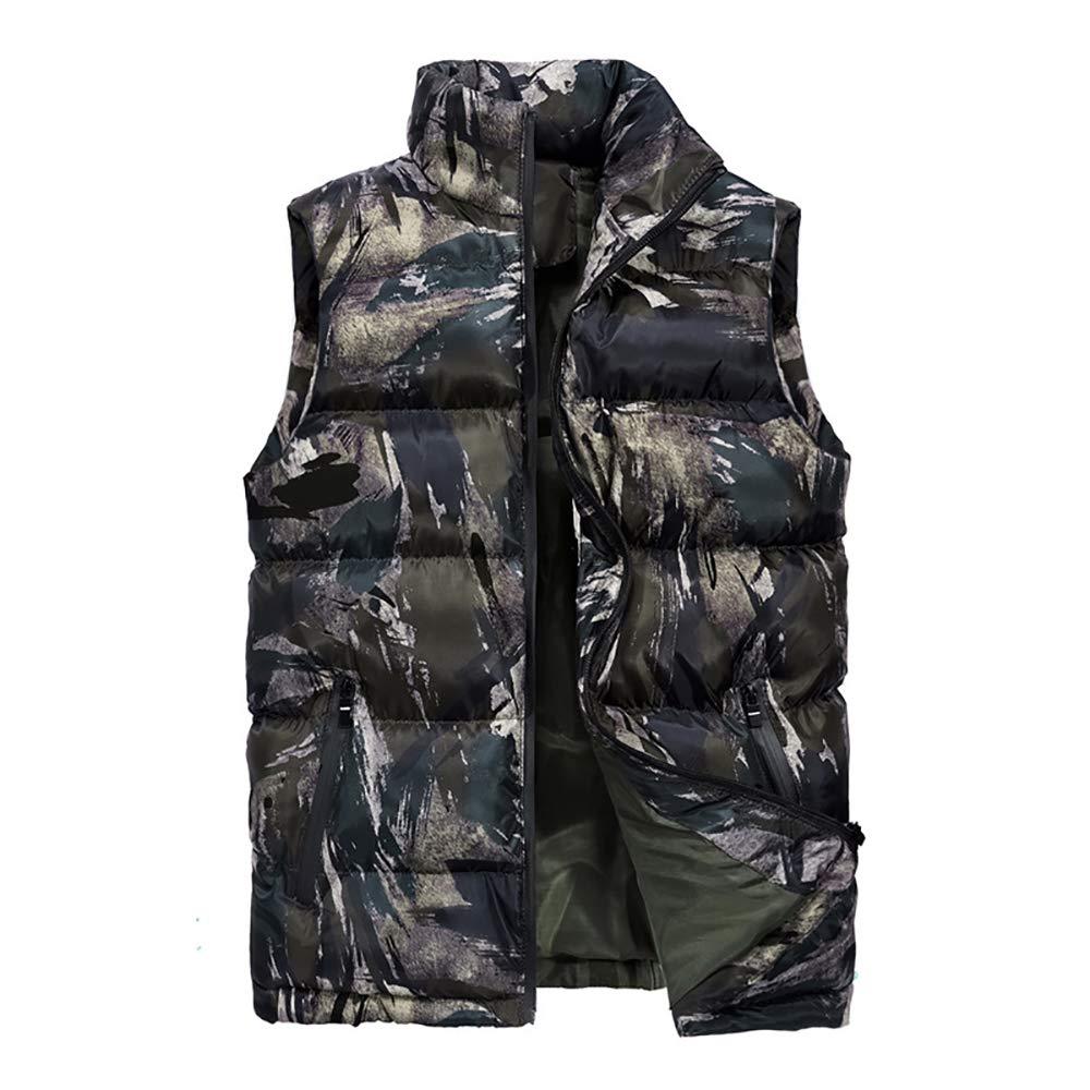 AYEN Daunenweste, Herren Stehkragen Camouflage Baumwolle Weste Herbst Und Winter Warme Lässige Weste