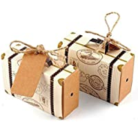 Hondex Gift Boxes 50pcs Mini Suitcase Favor Boxes Candy Boxes Wedding Favor Treats Box Vintage Kraft Paper with Tags and Burlap Twine for Christmas Birthdays Holidays Weddings Thanksgiving Baby Shower