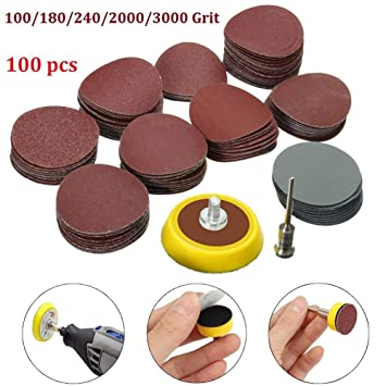 5 Red for 1000//1500//200+5 Grey for 2000//2500 UEETEK 25PCS 5 Inch Round Sanding Discs Sandpaper Circular Pads