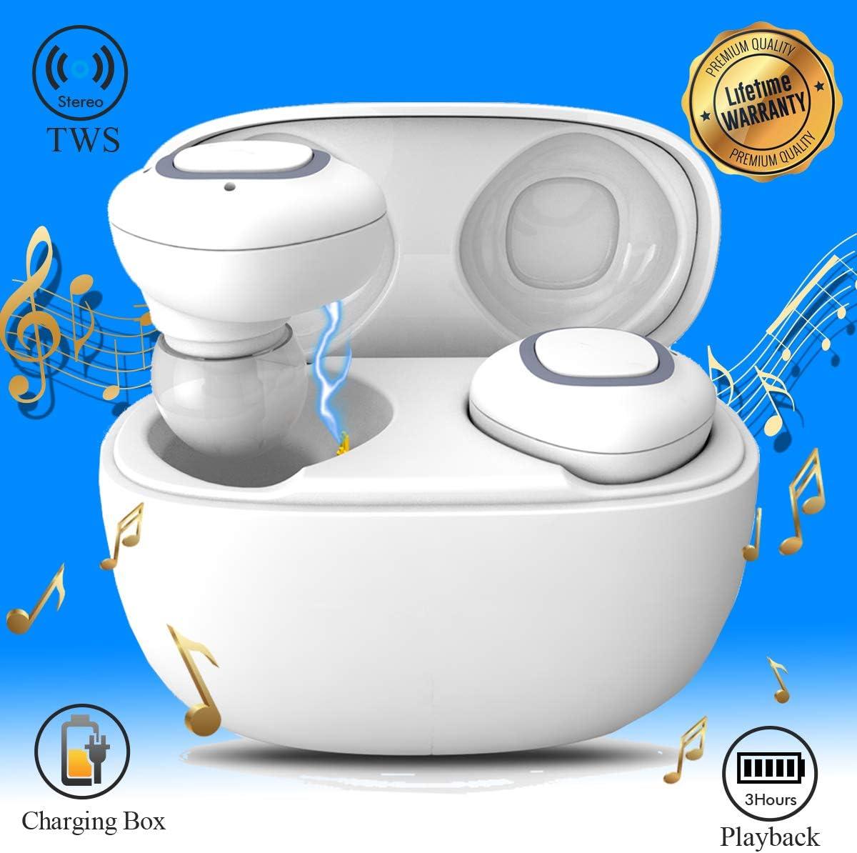 iFuntec Écouteurs sans Fil, Mini Intra Auriculaires Casque Écouteur avec Micro Oreillettes Bluetooth avec Étui de Charge, Réglable Écouteurs