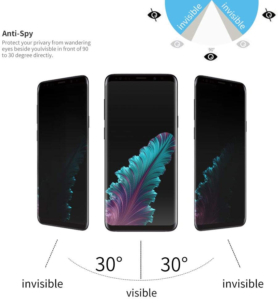 3D Curve 9H Hardness Scratch Resistance Anti-Glare Galaxy S8 Plus Privacy Screen Protector Suitable for Samsung Galaxy S8 Plus Black