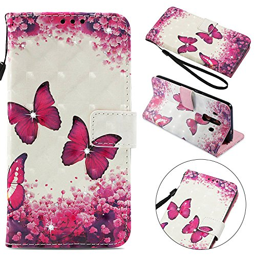 Case for Huawei Mate 10 Pro Bookstyle, Misteem Luxury Sequins Pattern [Red Rose Butterfly Couple] Leather Magnetic Soft Glitter Flip Cover with Card Holder Slot Strap Stand for Huawei Mate ()