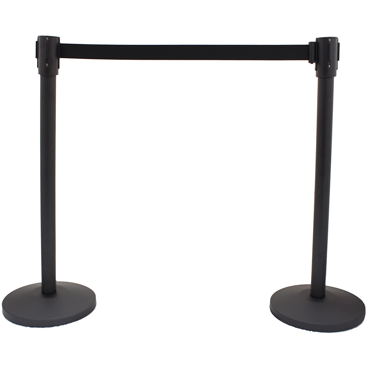 Pair Of Black Crowd Control Safety/Security Posts with Adjustable Belt Hardcastle