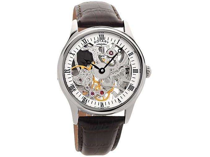 Rotary GS02521/06 - Reloj analógico manual para hombre, correa de cuero color marrón: Amazon.es: Relojes