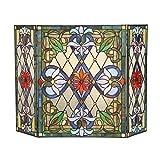 Cheap Chloe Lighting Tiffany Glass 3 Piece Folding Victorian Fireplace Screen, 44 by 28″, Multicolor