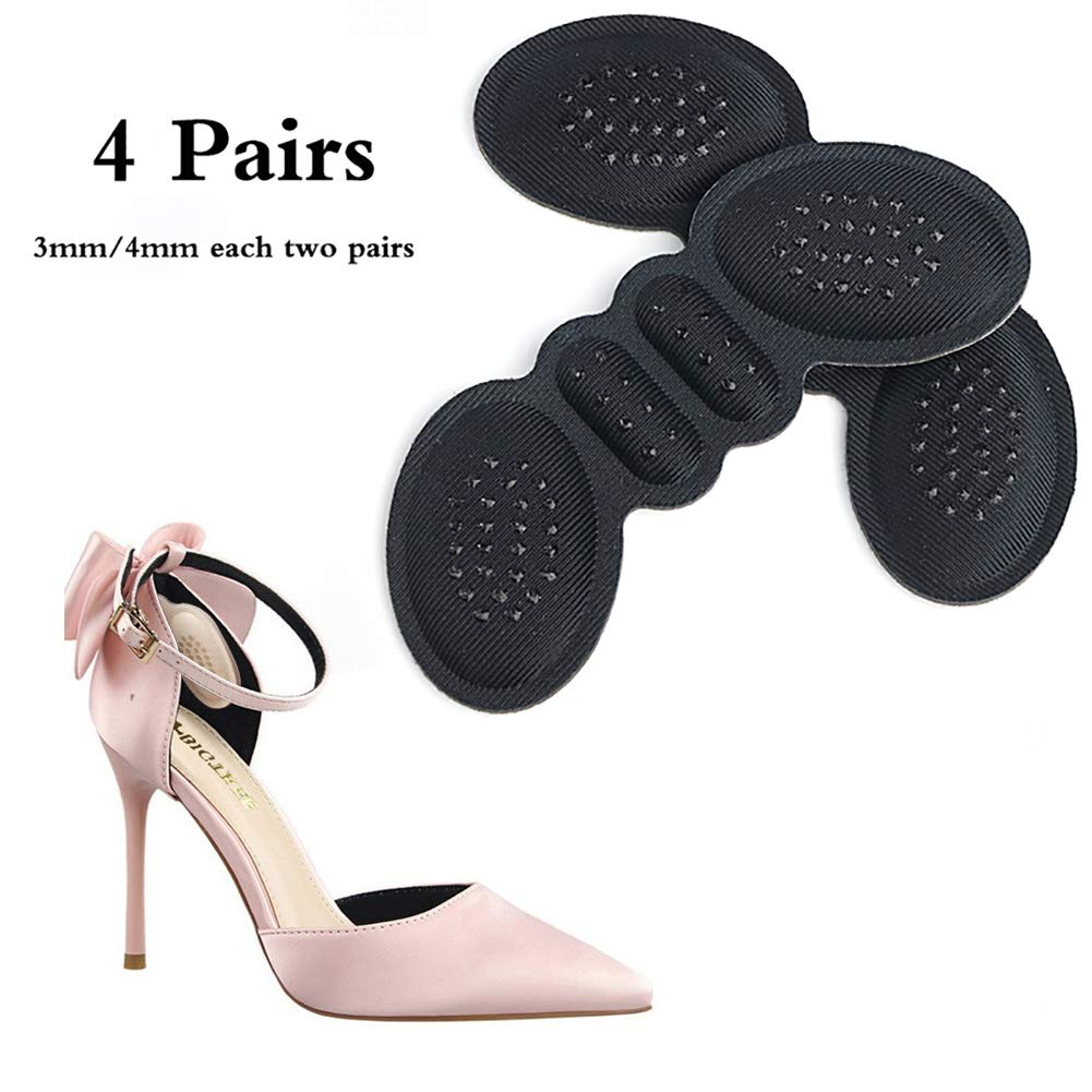 ZZYYZZ High Heel pad, Heel Cushion Pads for Women Men Anti Slip Blister Self-Adhesive Shoe Insoles Foot Care Protector(4 Pairs),Black
