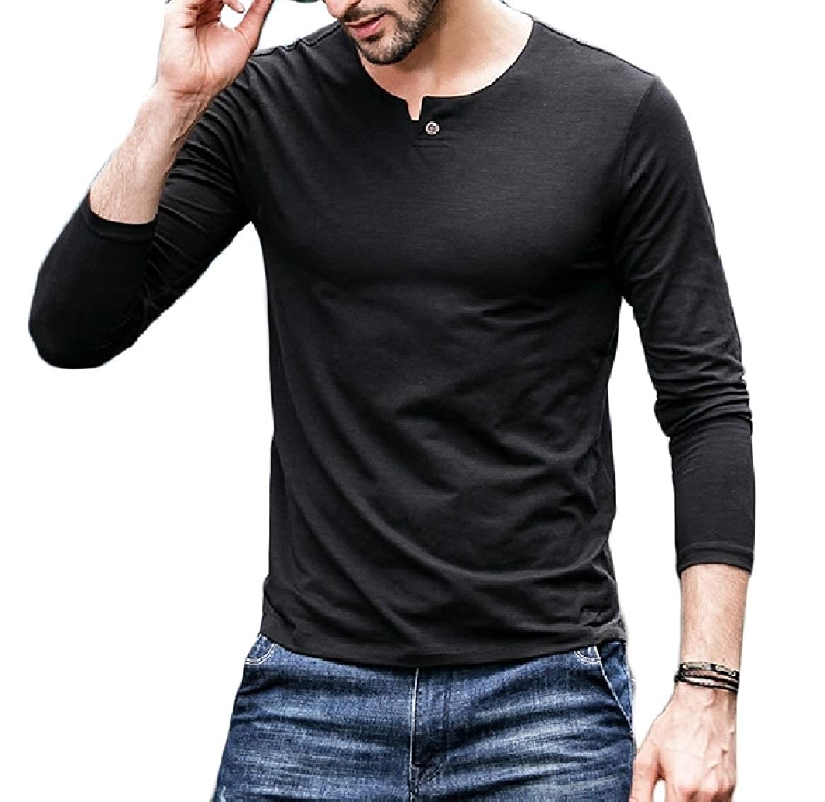 Sayah Mens Summer O-Neck Long Sleeve Solid Color Plus Size Top Tees Polo