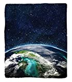 Chaoran 1 Fleece Blanket on Amazon Super Silky Soft All Season Super Plush Modern Abstractpace Moon Universe Decorations Collection Giclee Art Prints of Galaxy Nebula Earth tars Fabric et Navy Turquoi