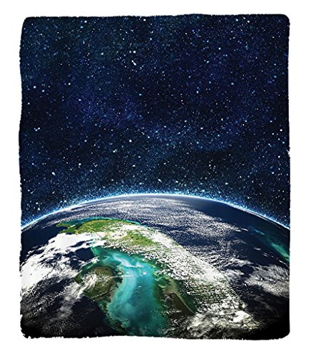 Chaoran 1 Fleece Blanket on Amazon Super Silky Soft All Season Super Plush Modern Abstractpace Moon Universe Decorations Collection Giclee Art Prints of Galaxy Nebula Earth tars Fabric et Navy Turquoi by chaoran