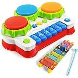 NextX Babyspielzeug mit Musik und Lichter Musikspielzeug Lernen & Aktivität Klavier und Trommel Musikalische Früherziehung Geschenk für Baby und Kleinkinder