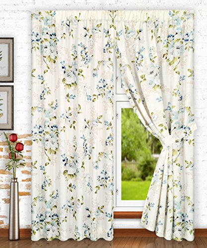 Ellis Curtain Chatsworth Traditional Floral Design (Tailored Panel Pair with Tiebacks, 70 x 63