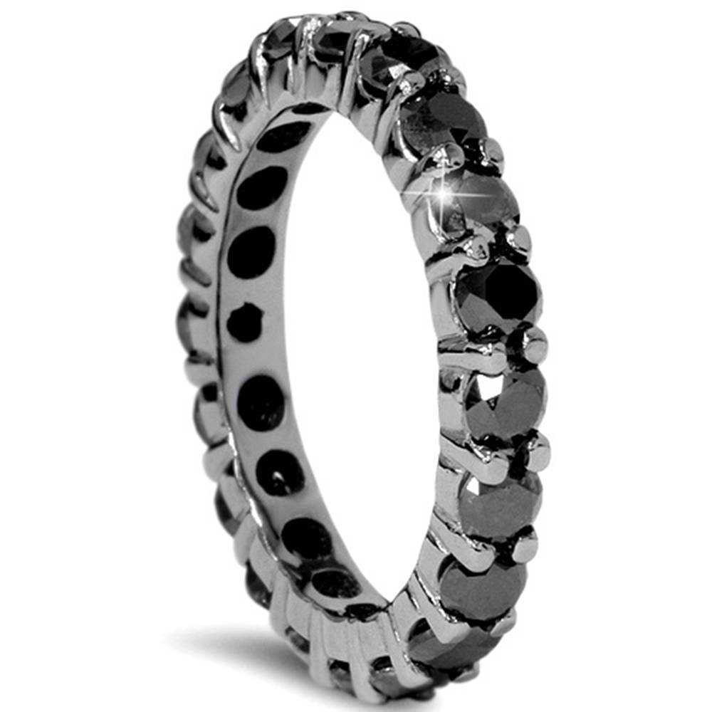 2 CT Black Diamond Eternity Ring 10K Black Gold - Size 7