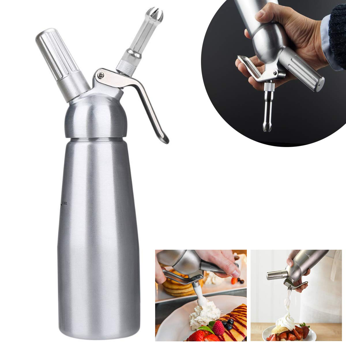 Cream Whipper Dispenser Aluminum Whipped Cream Dispenser with 3 Decorating Nozzles Professional Aluminum Cream Whipper Dispenser Cream Foamer for Whipping Cream 0.5 L Cream Foamer by Upstartech