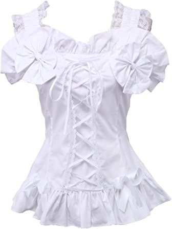 Blanca Algodón Volantes Encaje Bow Victoriana Sleeveless Lolita Camisa Blusa de Mujer: Amazon.es: Ropa y accesorios