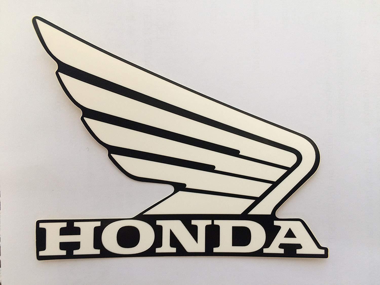 Honda Ailes R/éservoir /à Carburant R/éservoir de Carburant Autocollants 2 X 100mm Blanc//Noir Gauche /& Droit 100/% Genuine