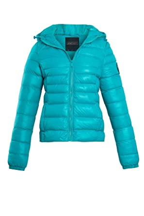 7fa2bd47b53ca Shelikes Womens Ladies Winter Padded Quilted Glossy Outdoor Puffer Hooded Jacket  Coat [Jade Green UK