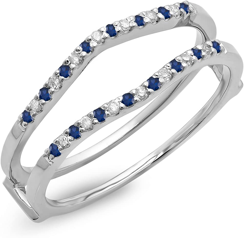 14K Gold Round Blue Sapphire Ladies Anniversary Wedding Band Enhancer Guard Double Ring