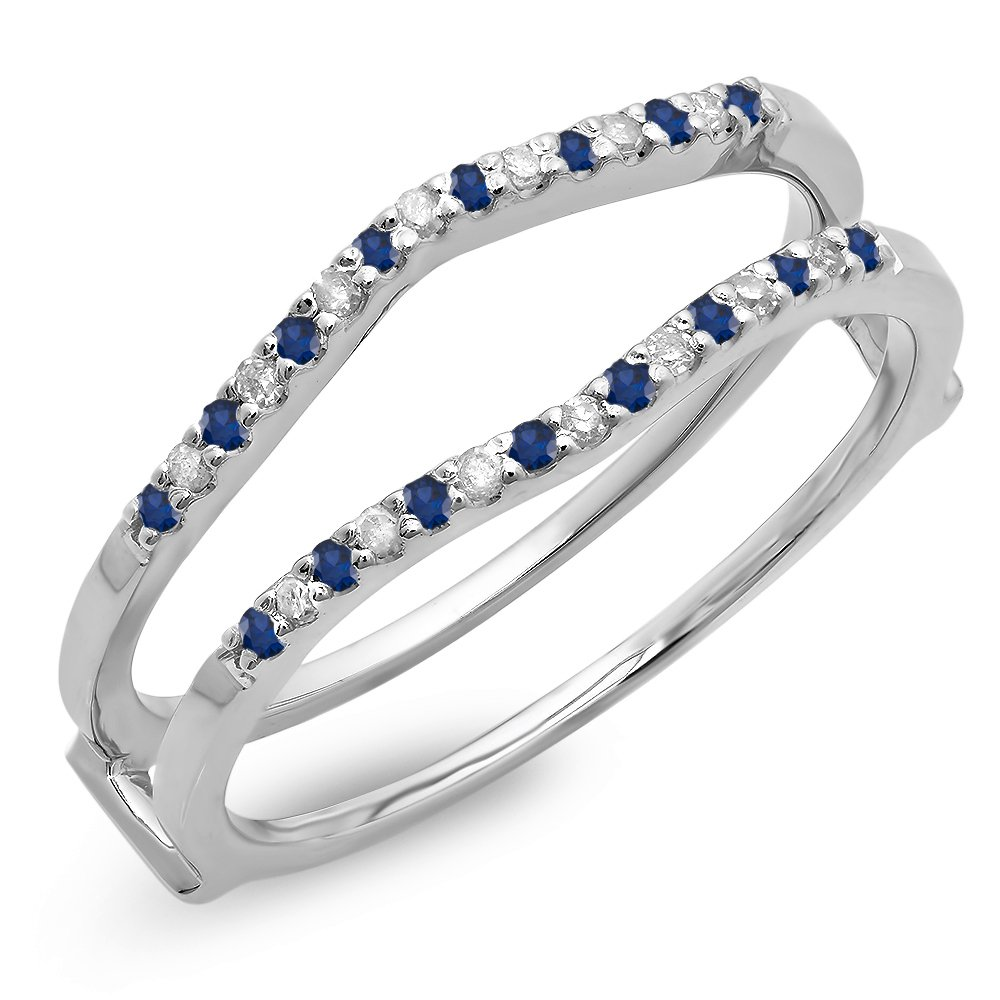 Dazzlingrock Collection 14K Round Blue Sapphire Ladies Anniversary Wedding Enhancer Guard Double Ring, White Gold, Size 5.5