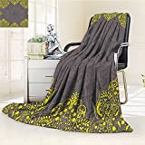 YOYI-HOME Cotton Thermal Duplex Printed Blanket,Victorian Style Backdrop with Indian Floral Frame Image Charcoal Grey and Marigold Soft and Breathable Cotton/W79 x H47