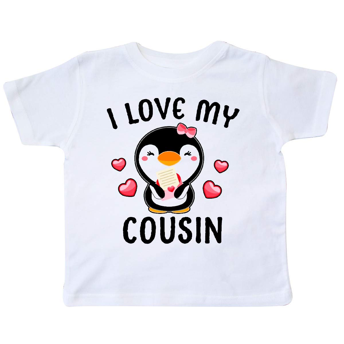 inktastic I Love My Cousin with Cute Penguin and Hearts Toddler T-Shirt