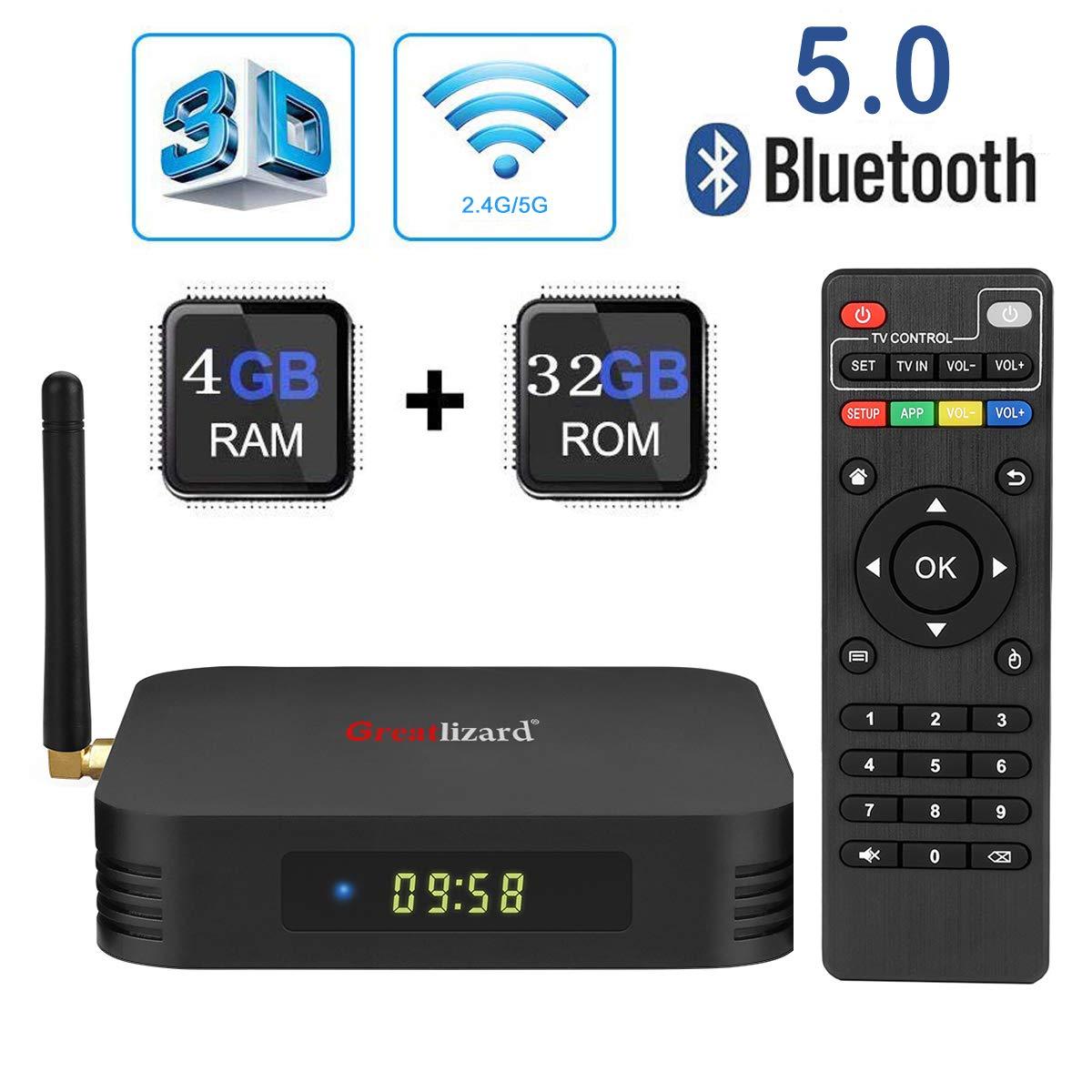 Android 9 0 TV Box,Greatlizard TX6 Android Box 4GB DDR3 32GB ROM BT5 0 Dual  WiFi 2 4G+5G Quad Core 1080p 4K 6K USB 3 0 HDR Smart TV Media Box