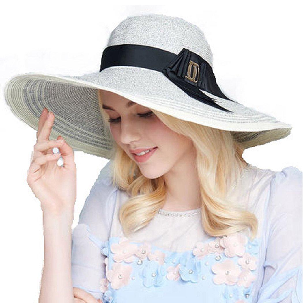Womans Straw Hat Beach Summer Wide Brim Church Hats Stripes Floppy Sun Hat