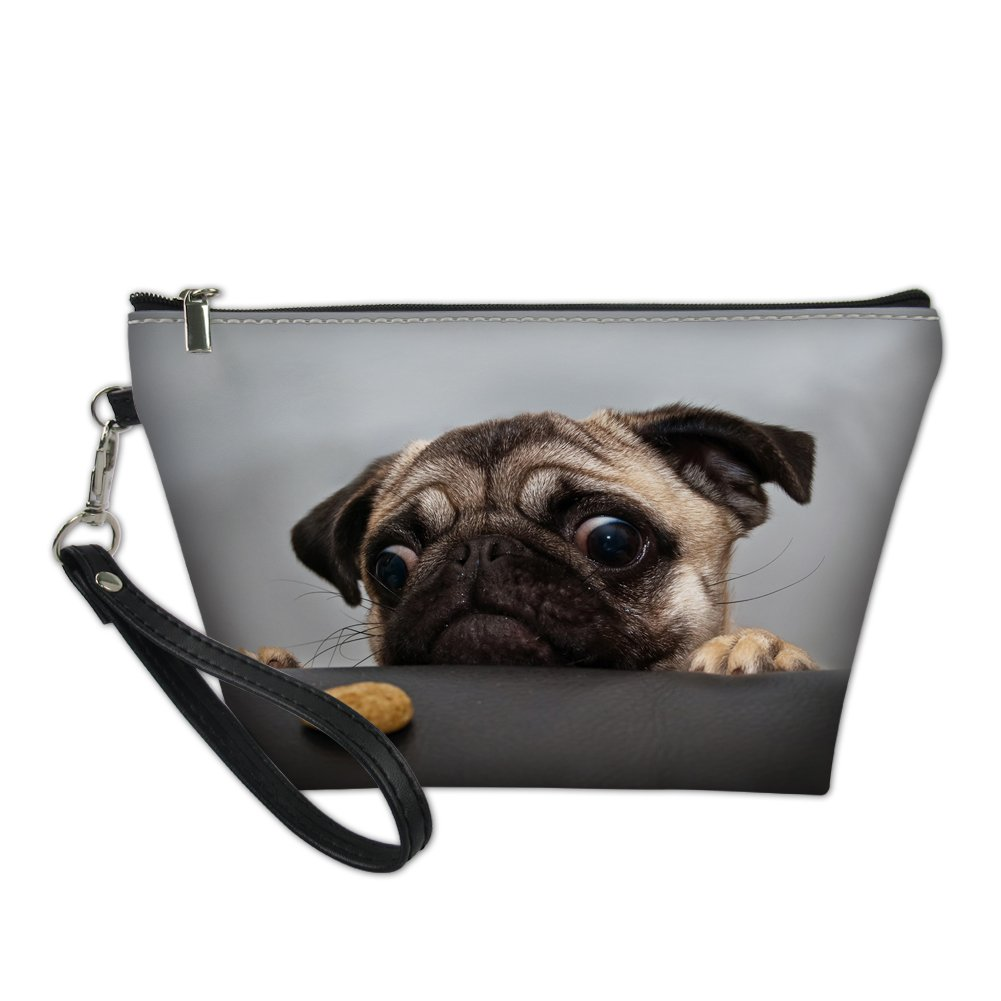 Showudesigns Maquillage Sac en cuir Sac de maquillage trousse Organiseur support pour femme pug dog 6 taille unique