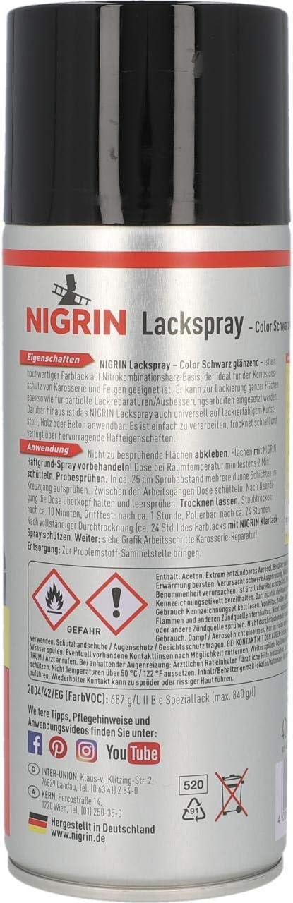 Nigrin 74117 Hitzebeständiges Lackspray 400 Ml Mattschwarzer Autolack 400 Ml Schützt Motor Und Auspuff Vor Rost Schnell Trocknend Auto