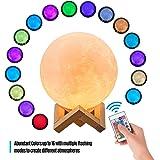 مصباح، مصباح القمر Benkeg 3D طباعة LED ضوء ليلي 16 ألوان متوهجة مع حامل التحكم عن بعد التحكم باللمس USB قابل للشحن…