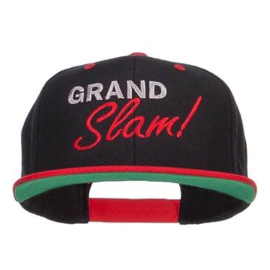 E4hats Grand Slam Embroidered Snapback Cap - Black Red OSFM at ... ab2e208ea48