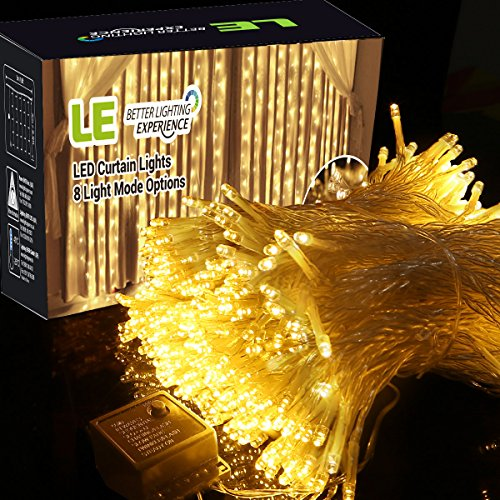 -[ LE Curtain Lights 3x3m 306 LEDs, 8 Modes Window Curtain Icicle Lights String Fairy Lights, Warm