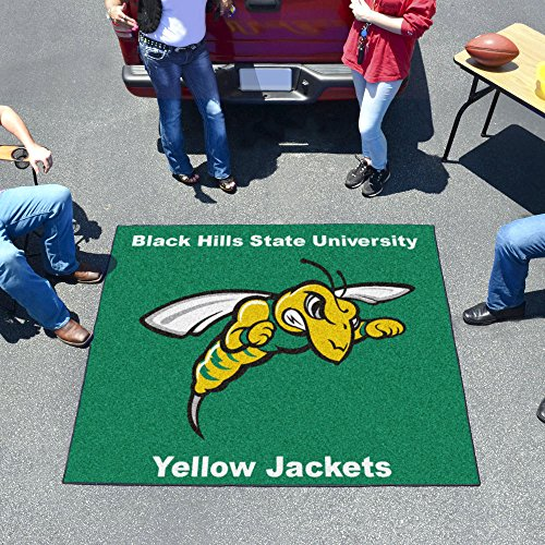 Tailgater Mat w Official Black Hills State Yellow Jacket Logo In Team Colors by Fanmats