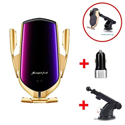 DHong Smart in-Car Mobile Phone Holder IR Sensor Automatic Clamping Plus 10W Qi Wireless Fast Charging Car Charger Compatible for iPhone 8 Xs XR Galaxy S9 S8 S7 Note9 (Gold + Suctorial Cup Bracket): Home Audio & Theater