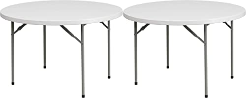 Flash Furniture 48 Round Granite White Plastic Folding Table RB-48R-GG Pack of 2