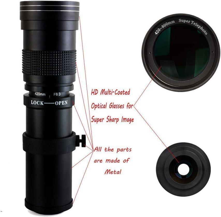 450D 500D 350D 6D 1000D 30D 700D Fotga 420-800mm f // 8.3-16 Super Telezoom Lens Telephoto Lens Zoom Lens Vario Lens Lens with T-EOS T2 Adapter for Canon EOS 1D 550D 40D 1100D 20D 5D 50D 600D 10D 1200D and more DSLR // SLR cameras 400D 7D