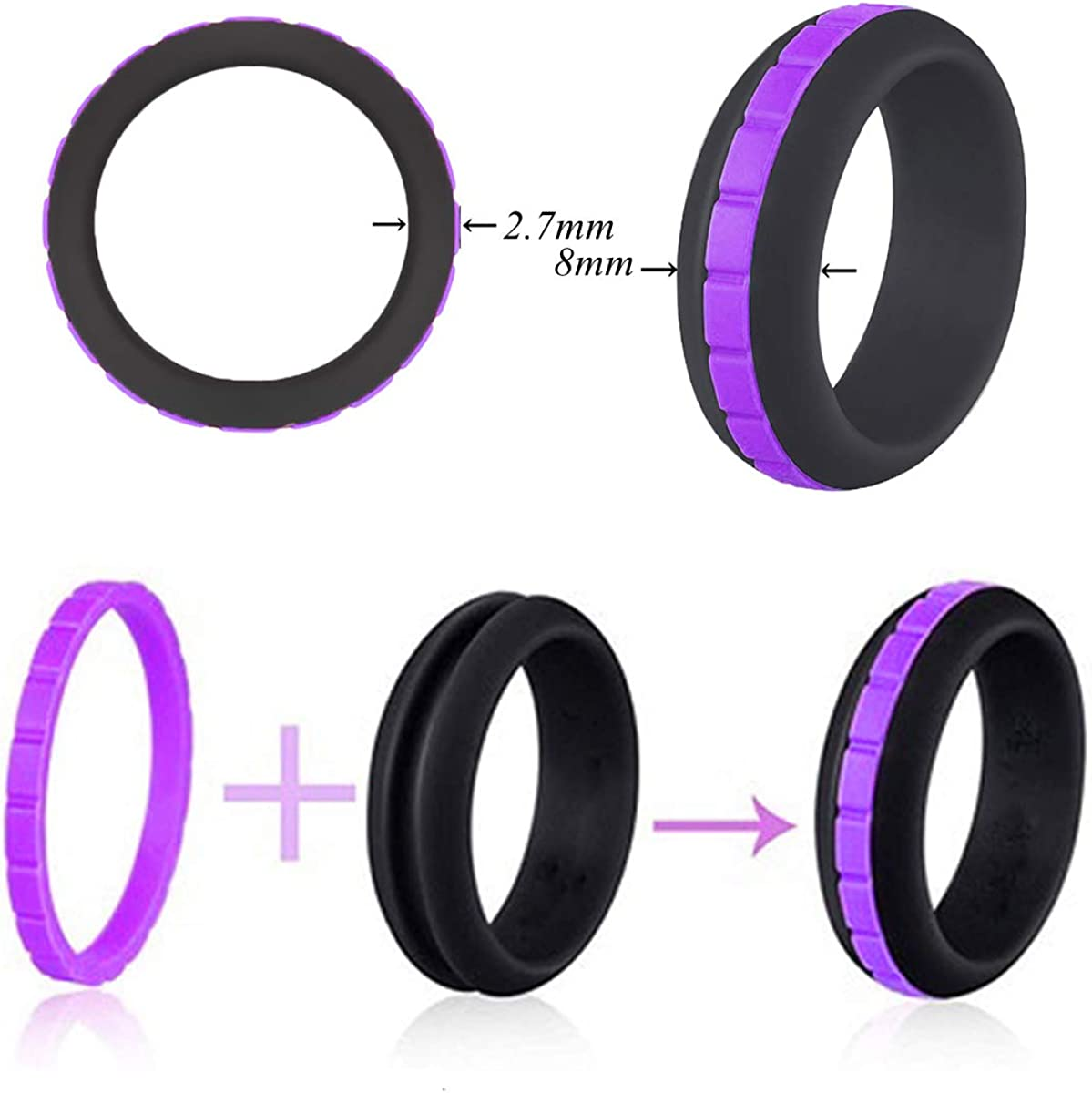 PTMANXIU Silicone Wedding Ring for Men Women 2 Packs 8mm Stepped Stripe Fashion Rubber Bands
